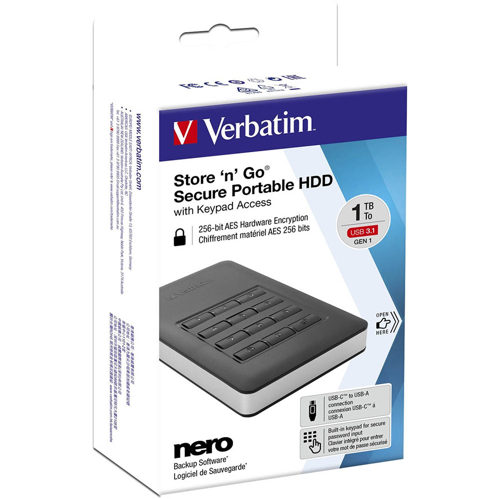 Image for VERBATIM STORE-N-GO SECURE PORTABLE HARD DRIVE WITH KEYPAD ACCESS 1TB BLACK from Express Office National