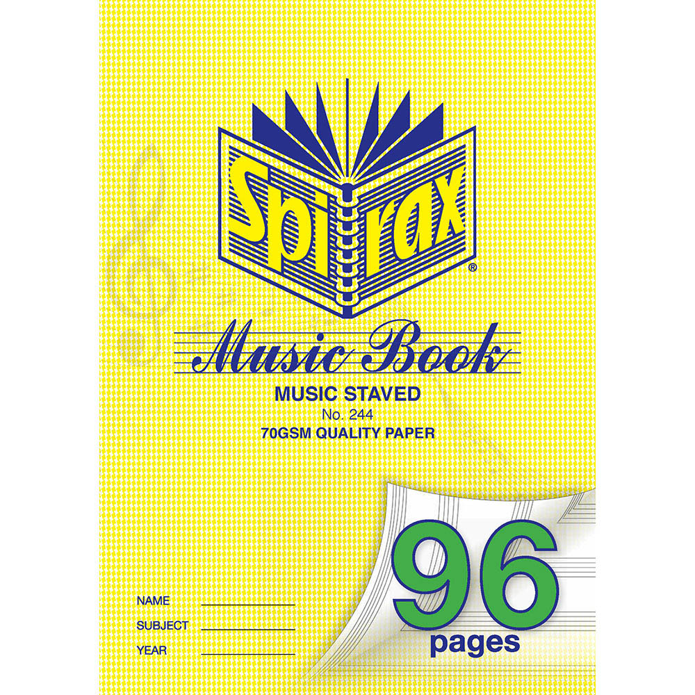 Image for SPIRAX 244 MUSIC BOOK 96 PAGE A4 from Office National Kalgoorlie