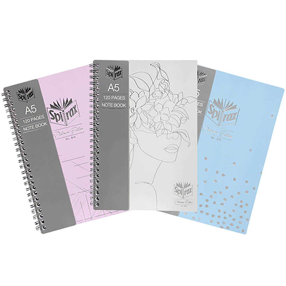 Image for SPIRAX PLATINUM EDITION NOTEBOOK SIDE OPEN 120 PAGE A5 ASSORTED PACK 3 from Office National Barossa