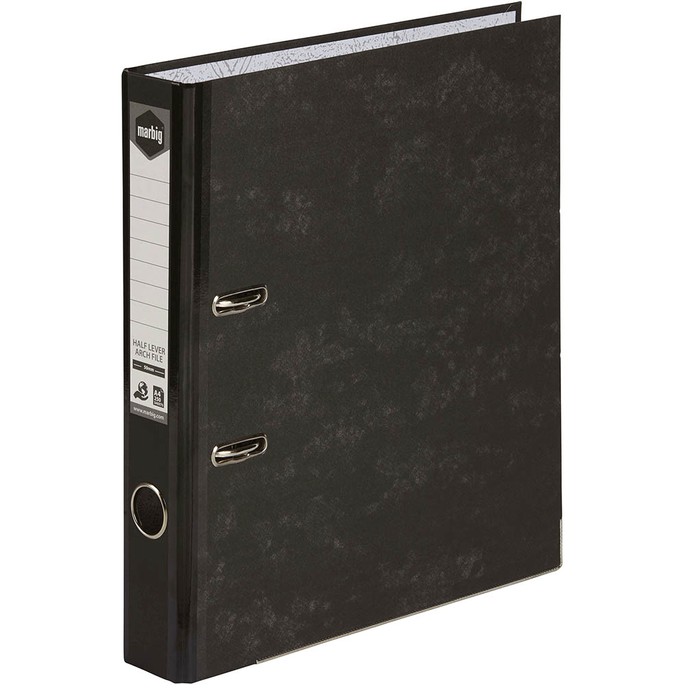 Image for MARBIG HALF LEVER ARCH FILE REINFORCED SPINE A4 BLACK from Axsel Office National