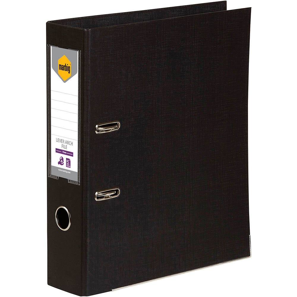 Image for MARBIG LEVER ARCH FILE 75MM FOOLSCAP BLACK from Axsel Office National