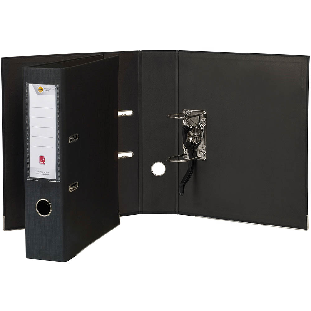 Image for MARBIG PROFESSIONAL QUICKFILE LEVER ARCH FILE 75MM FOOLSCAP BLACK from Axsel Office National