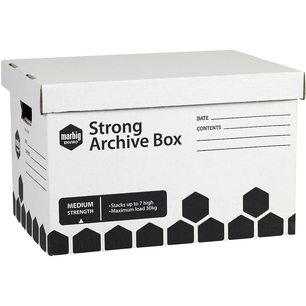 Image for MARBIG STRONG ARCHIVE BOX 420 X 320 X 260MM PACK 3 from Angleton's Office Products Depot