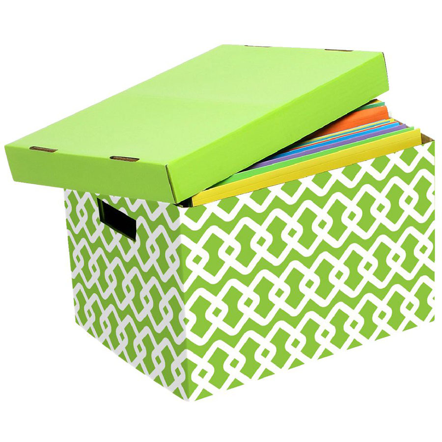 Image for MARBIG ARCHIVE BOX PATTERNED LIME/WHITE from Paul John Office National