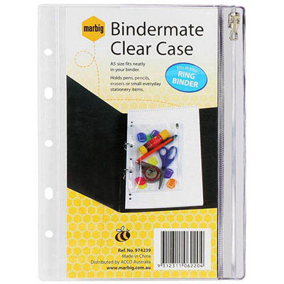 Image for BINDERMATE PENCIL CASE A5 CLEAR from Office National Perth CBD