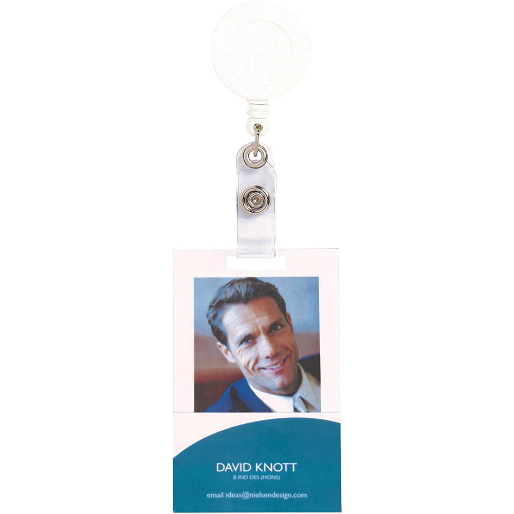 Image for REXEL RETRACTABLE ID CARD HOLDER WITH STRAP WHITE from Office National Perth CBD