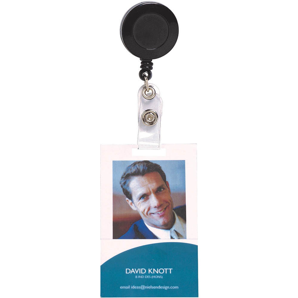 Image for REXEL RETRACTABLE CARD HOLDER WITH STRAP BLACK HANGSELL from Office National Perth CBD