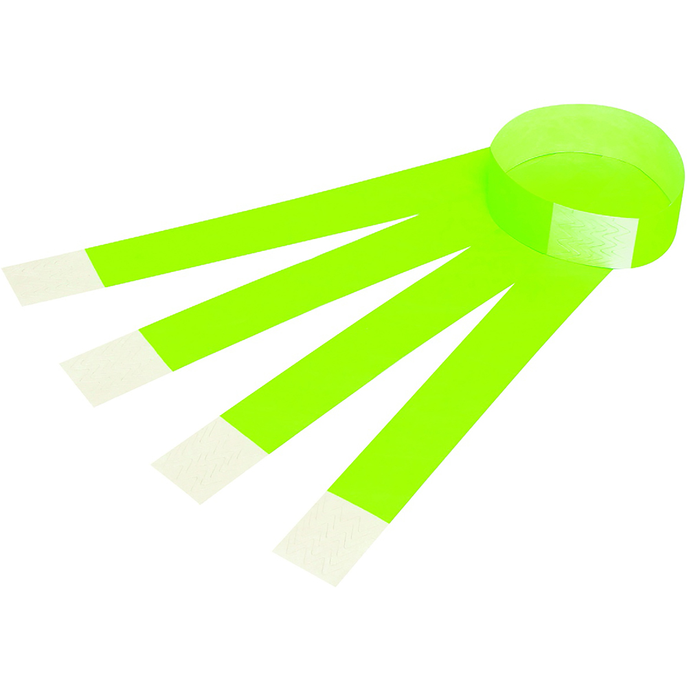 Image for REXEL TYVEK WRISTBANDS WITH SERIAL NUMBER FLUORO GREEN PACK 10 from Surry Office National