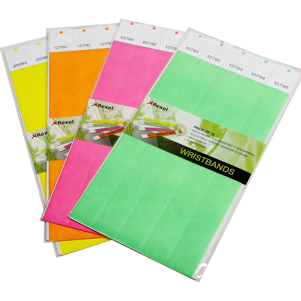 Image for REXEL WRISTBANDS FLUORO ASSORTED COLOURS PACK 10 from Surry Office National
