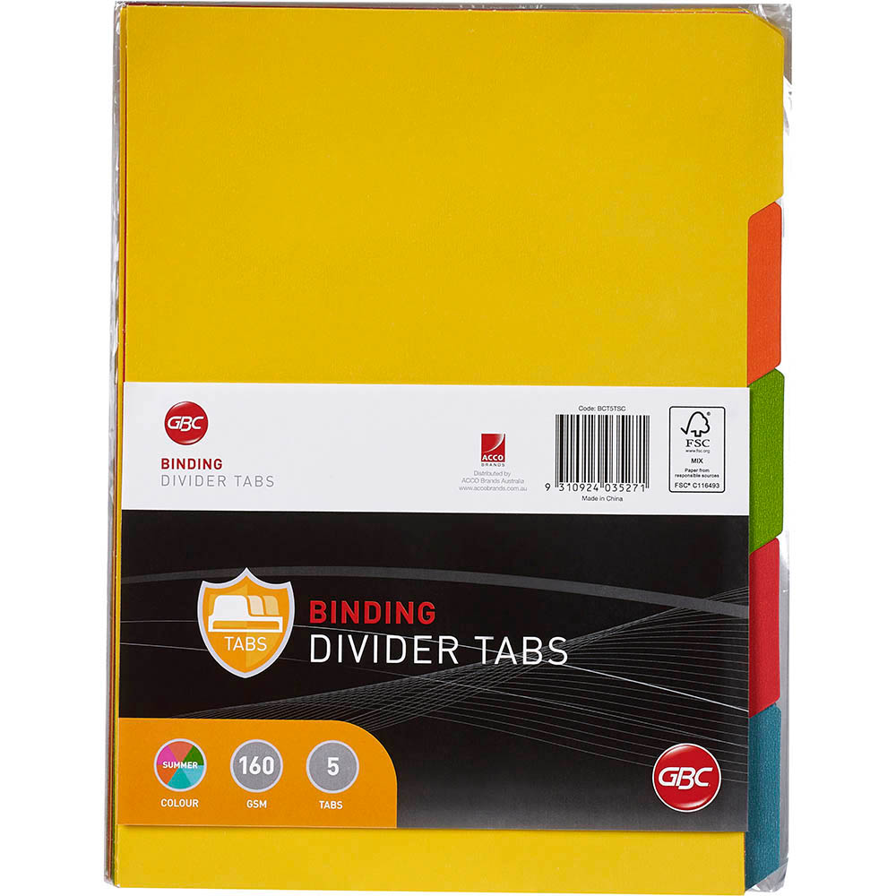 Image for GBC TAB UNPUNCHED DIVIDERS 5-TAB A4 COLOUR from Office National Perth CBD