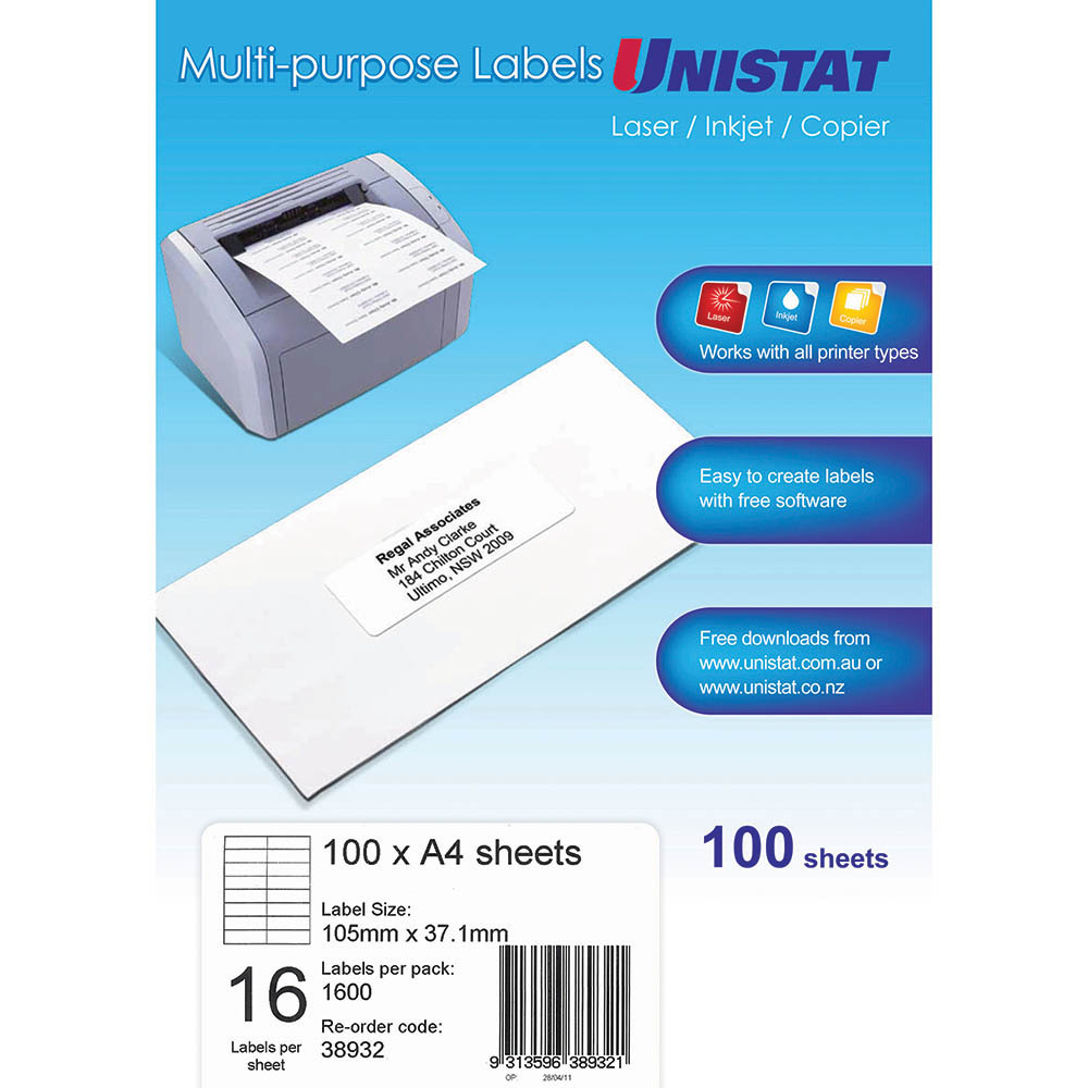 Image for UNISTAT 38932 MULTI-PURPOSE LABEL 16UP 105 X 37MM WHITE PACK 100 from Office National Perth CBD