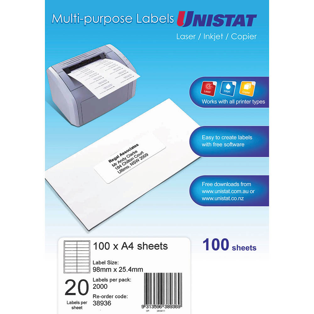 Image for UNISTAT 38936 MULTI-PURPOSE LABEL 20UP 98 X 25.4MM WHITE PACK 100 from Office National Perth CBD
