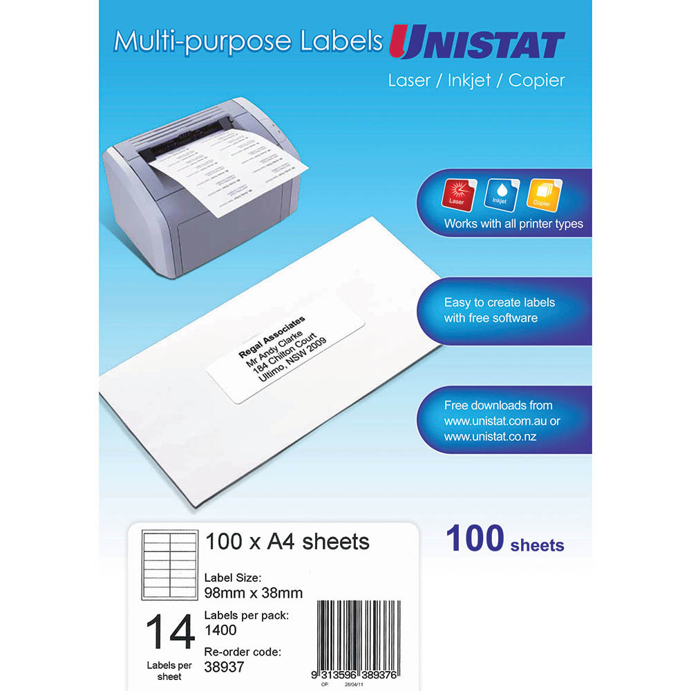 Image for UNISTAT 38937 MULTI-PURPOSE LABEL 14UP 98 X 38MM WHITE PACK 100 from Office National Perth CBD