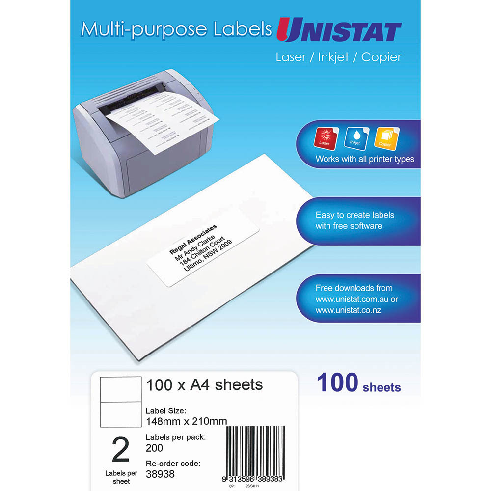 Image for UNISTAT 38938 MULTI-PURPOSE LABEL 2UP 148 X 210MM WHITE PACK 100 from Office National Perth CBD