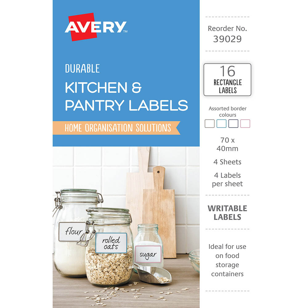 Image for AVERY 39029 KITCHEN AND PANTRY LABELS RECTANGULAR ASSORTED PACK 16 from Mackay Business Machines (MBM)