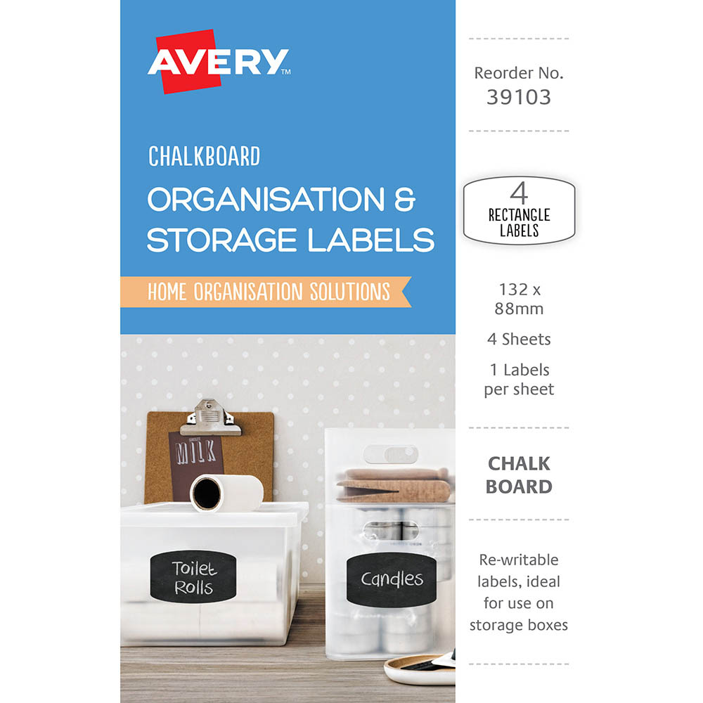 Image for AVERY 39103 ORGANISATION AND STORAGE CHALKBOARD LABELS RECTANGULAR 132 X 88MM PACK 4 from Axsel Office National