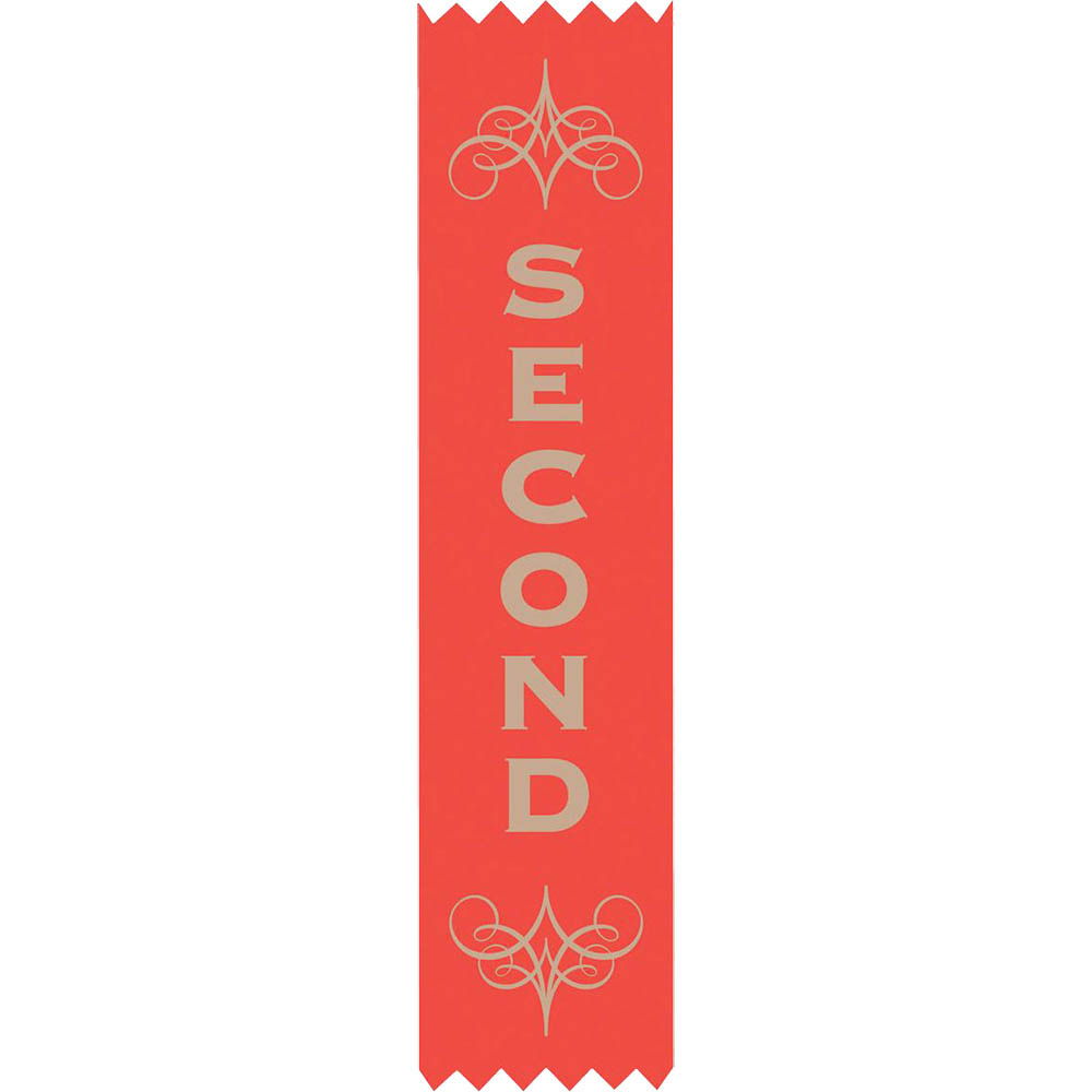 Image for AVERY 69630 MERIT RIBBONS SATIN 2ND PLACE RED PACK 100 from Wetherill Park / Smithfield Office National