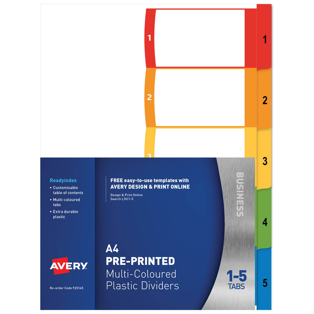 Image for AVERY 920145 L7411-5 CUSTOMISABLE DIVIDER PP MULTICOLOUR 1-5 TABS from Office National Perth CBD