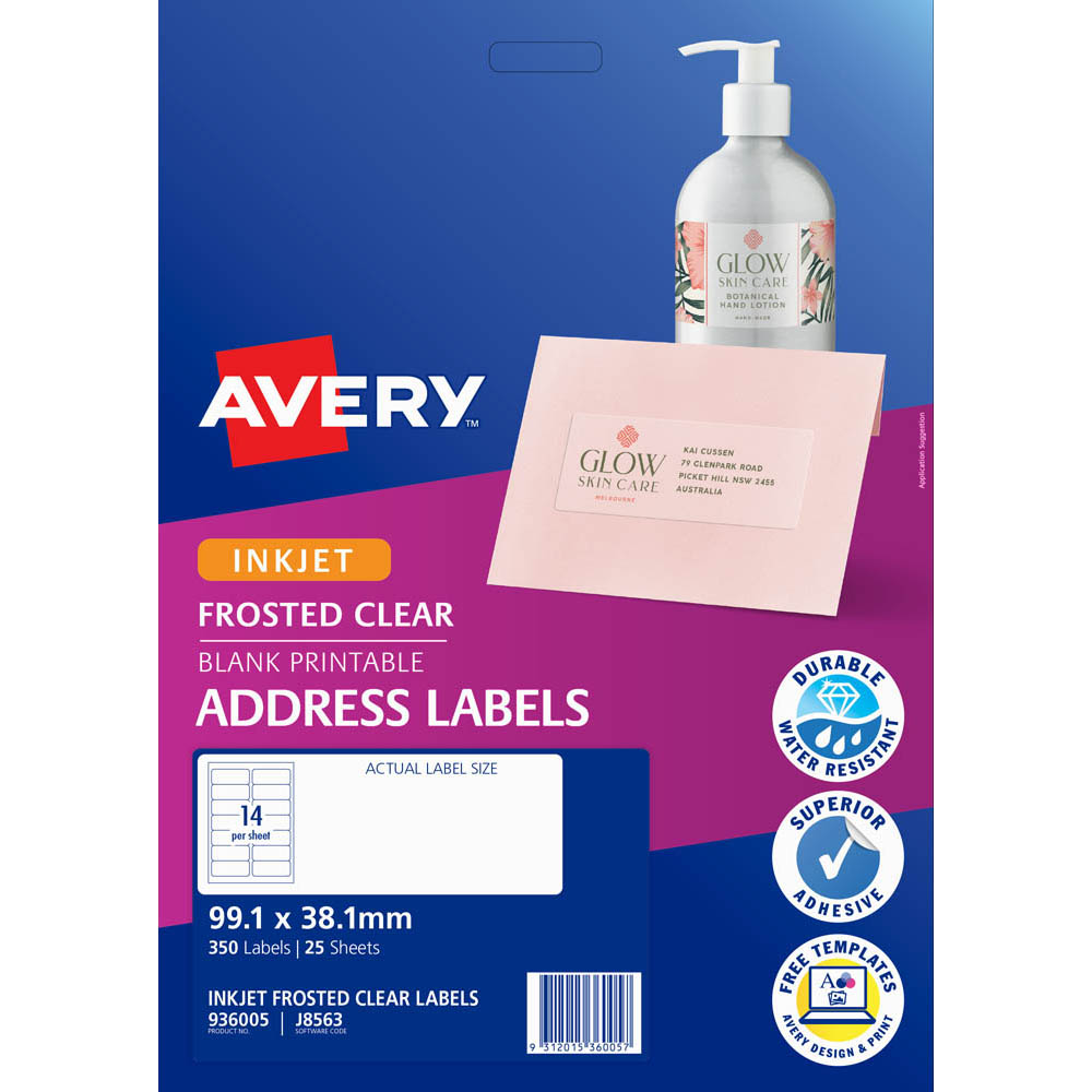Image for AVERY 936005 J8563 INKJET LABEL 99.1 X 38.1MM 14UP CLEAR WITH MATT FINISH PACK 25 from Office National Perth CBD