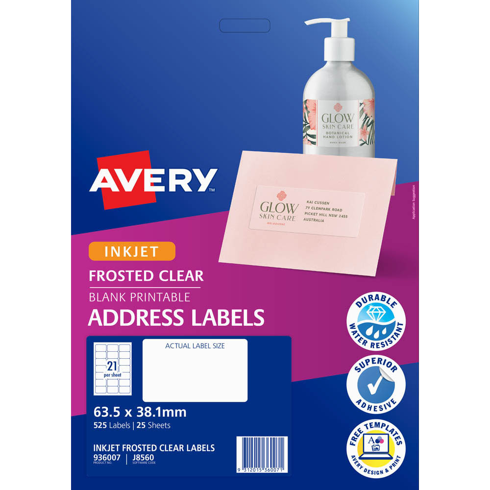 Image for AVERY 936007 J8560 INKJET LABEL 21UP CLEAR WITH MATT FINSH PACK 25 from Wetherill Park / Smithfield Office National