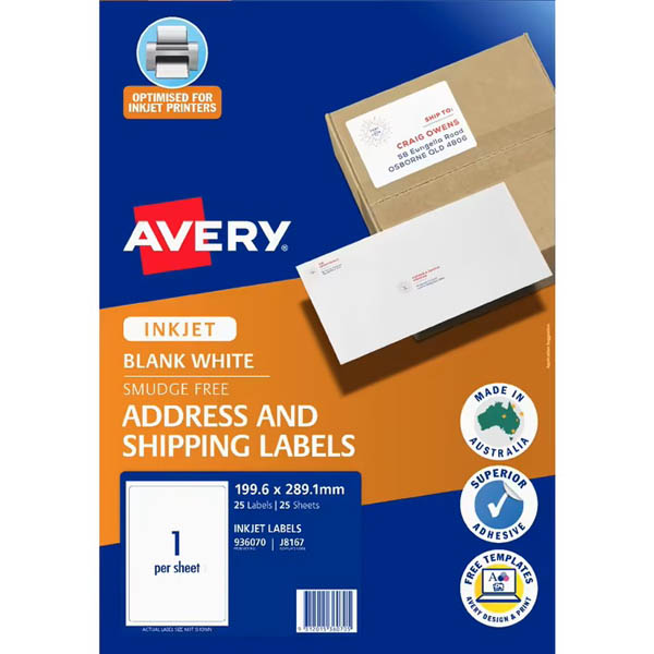 Image for AVERY 936020 J8167 TRUEBLOCK SHIPPING LABEL INKJET 1UP PACK 25 from Paul John Office National