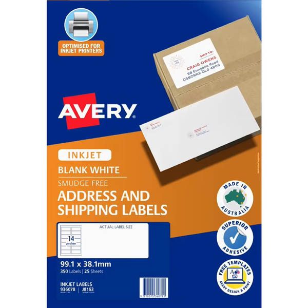 Image for AVERY 936028 J8163 QUICK PEEL ADDRESS LABEL WITH SURE FEED INKJET 14UP WHITE PACK 25 from Paul John Office National