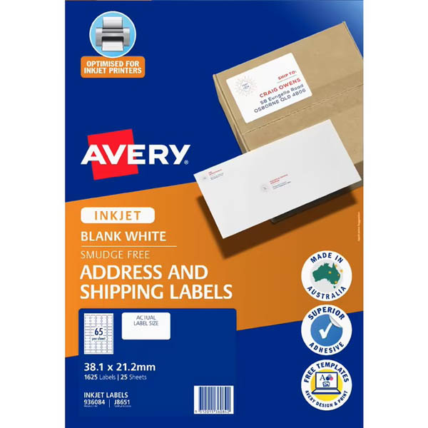 Image for AVERY 936034 J8651 QUICK PEEL ADDRESS LABEL WITH SURE FEED INKJET 65UP WHITE PACK 25 from Axsel Office National