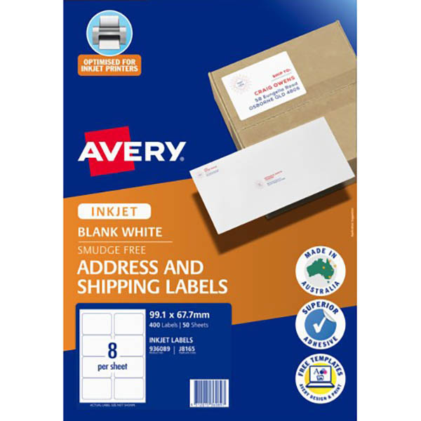 Image for AVERY 936039 J8165 PARCEL LABELS INKJET A4 8UP WHITE PACK 400 from Our Town & Country Office National