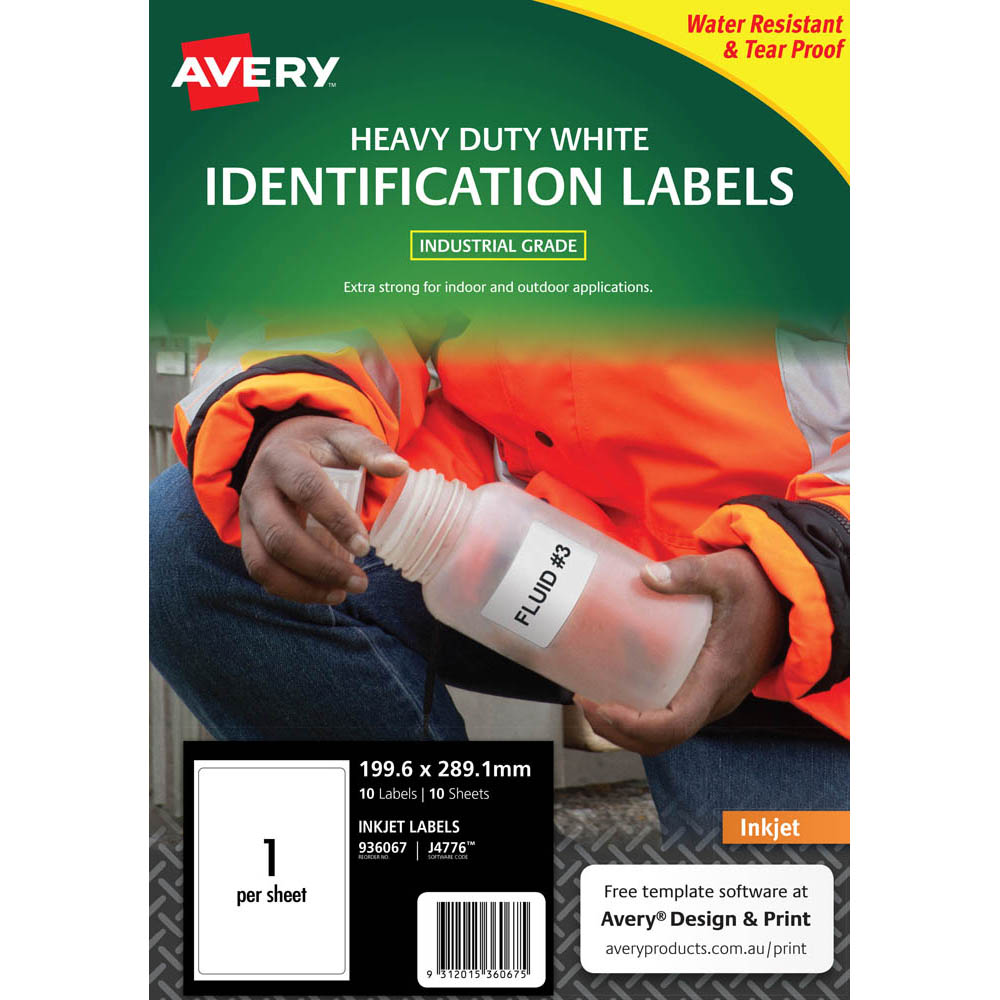 Image for AVERY 936067 J4776 HEAVY DUTY INKJET LABELS 1UP WHITE PACK 10 from Axsel Office National