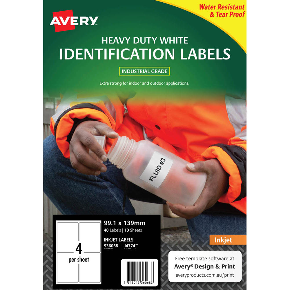 Image for AVERY 936068 J4774 HEAVY DUTY INKJET LABELS 4UP WHITE PACK 10 from Office National Perth CBD