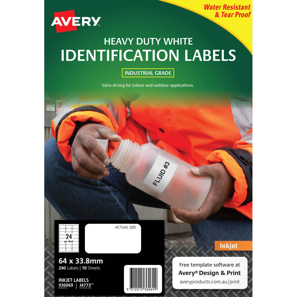 Image for AVERY 936069 J4773 HEAVY DUTY INKJET LABELS 24UP WHITE PACK 10 from Wetherill Park / Smithfield Office National