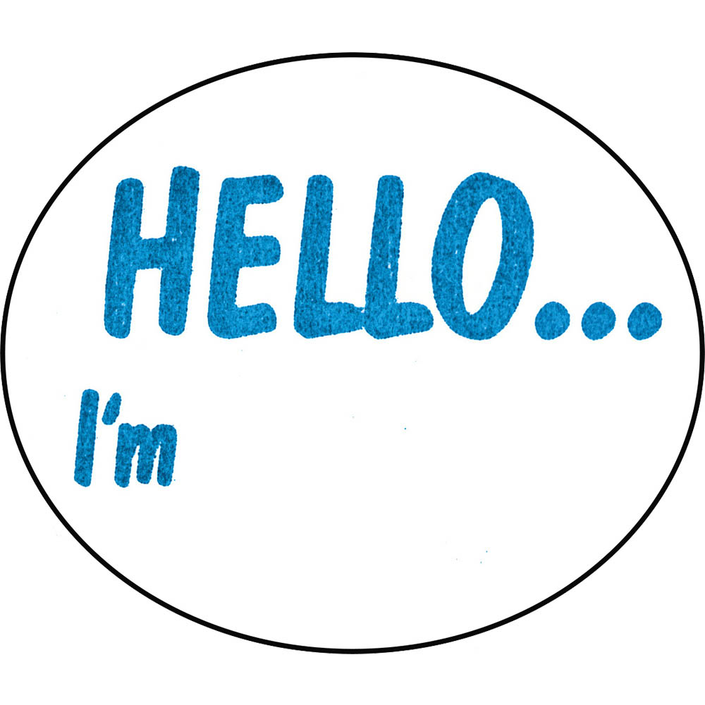 Image for AVERY 937263 MESSAGE LABELS HELLO IM 58 X 43MM OVAL BOX 100 from Office National Barossa