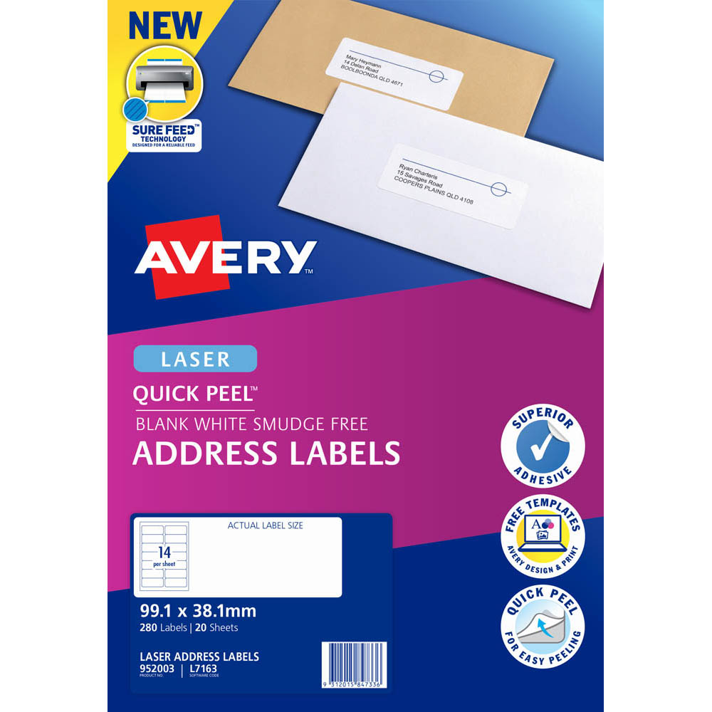 Image for AVERY 952003 L7163 QUICK PEEL ADDRESS LABEL WITH SURE FEED LASER 14UP WHITE PACK 20 from Paul John Office National