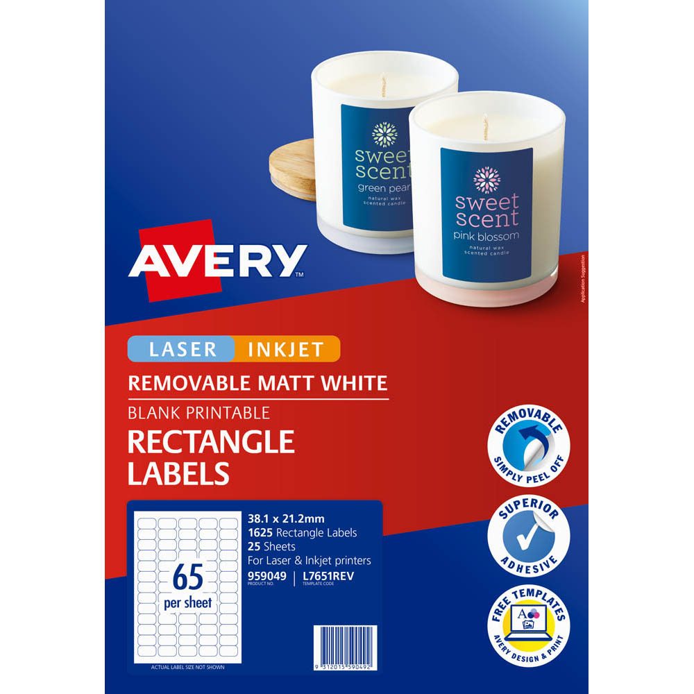 Image for AVERY 959049 L7651REV REMOVABLE MULTI-PUROSE LABEL LASER INKJET 65UP WHITE PACK 25 from Axsel Office National