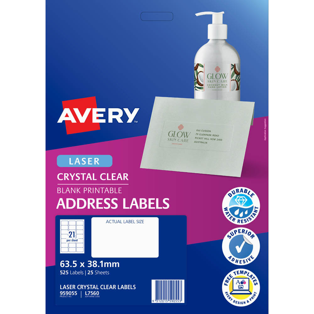 Image for AVERY 959055 L7560 CRYSTAL CLEAR ADDRESS LABEL LASER 21UP CLEAR PACK 25 from Wetherill Park / Smithfield Office National
