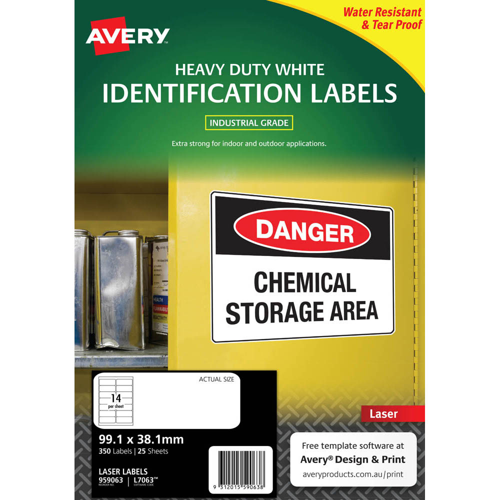 Image for AVERY 959063 L7063 HEAVY DUTY LASER LABELS WHITE 14UP PACK 25 from Aztec Office National Melbourne
