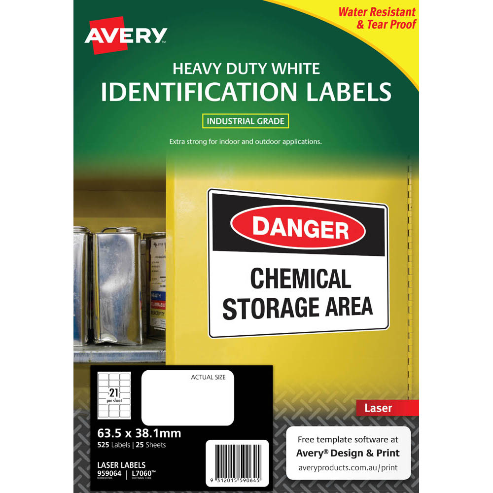 Image for AVERY 959064 L7060 HEAVY DUTY LASER LABELS WHITE 21UP PACK 25 from Aztec Office National Melbourne