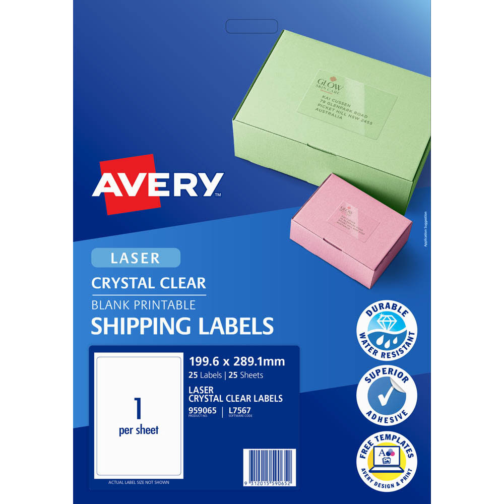 Image for AVERY 959065 L7567 CRYSTAL CLEAR ADDRESS LABEL LASER 1UP CLEAR PACK 25 from Office National Perth CBD