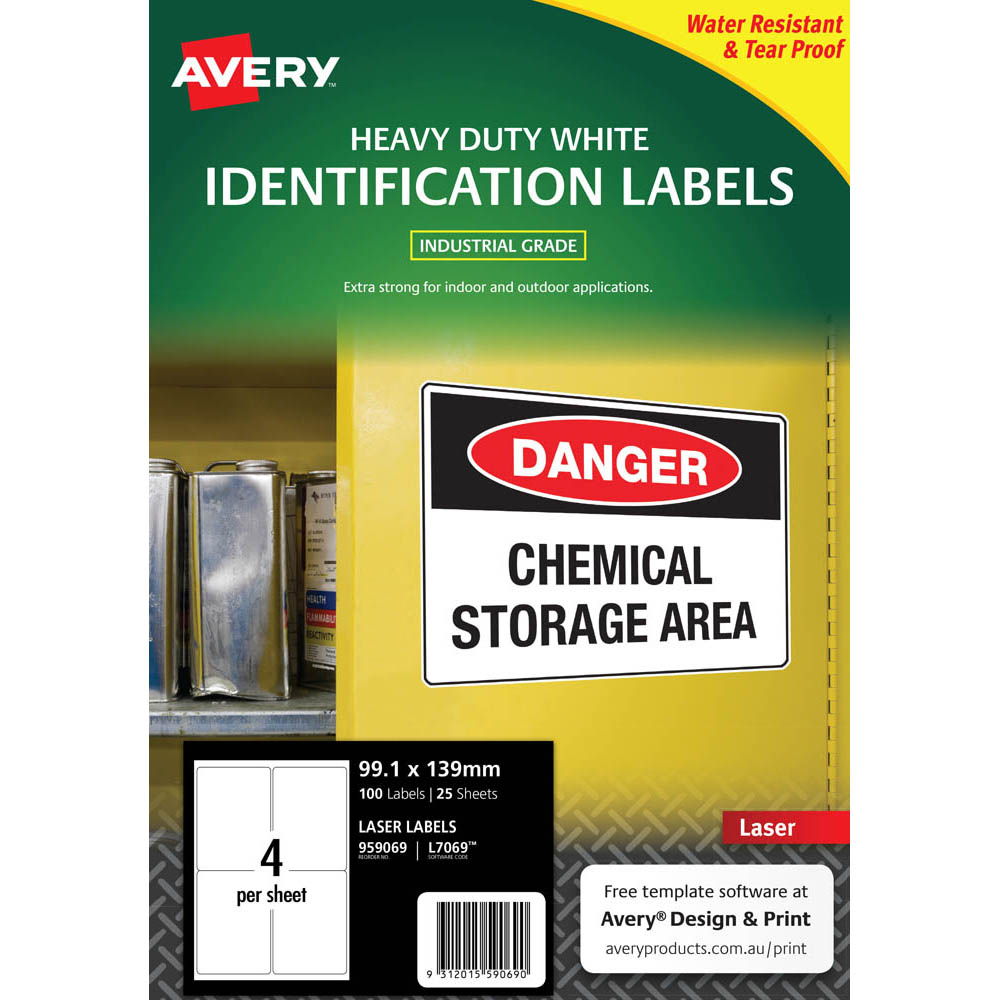 Image for AVERY 959069 L7069 HEAVY DUTY LASER LABELS WHITE 4UP PACK 25 from Axsel Office National