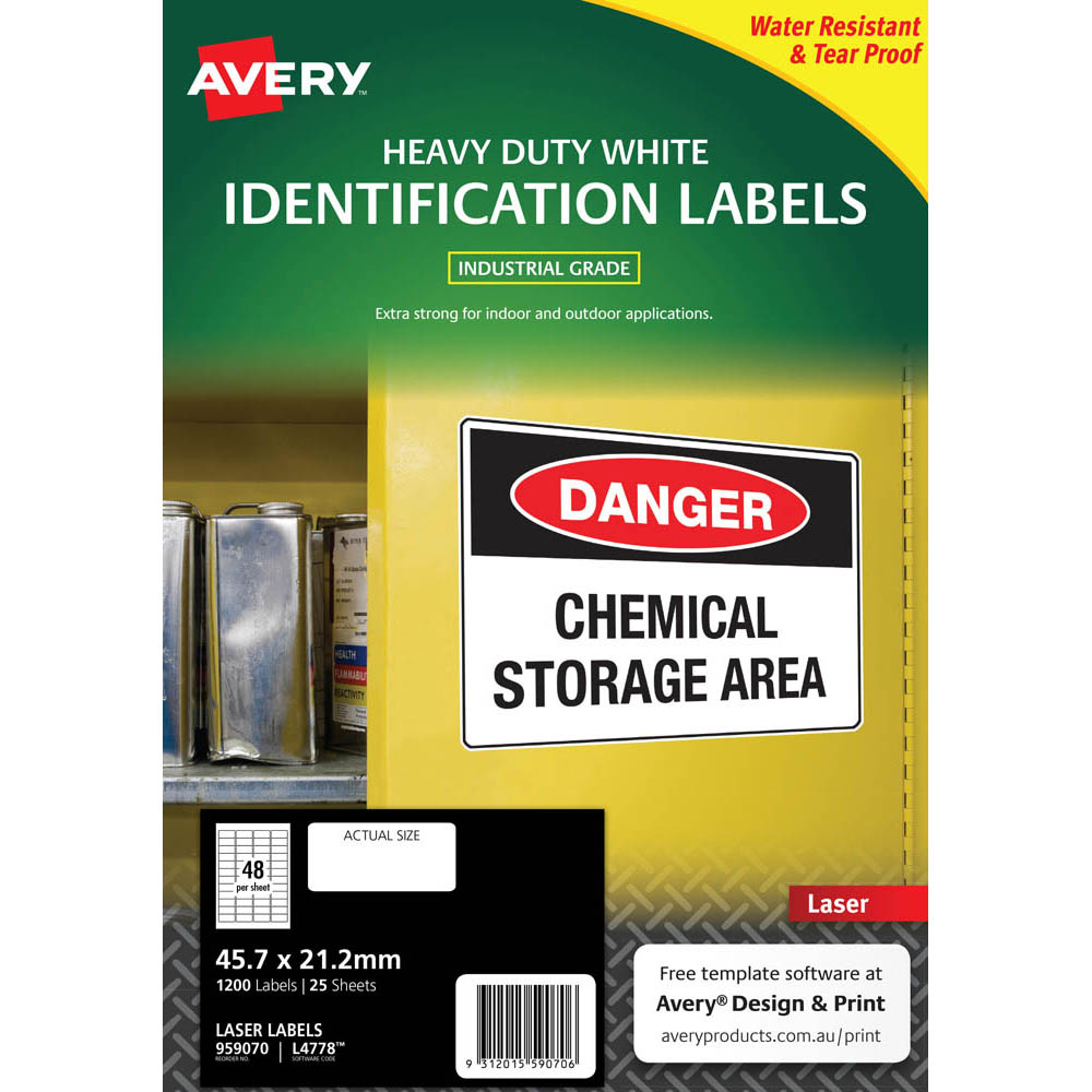 Image for AVERY 959070 L4778 HEAVY DUTY LASER LABELS 48UP WHITE PACK 25 from Aztec Office National Melbourne