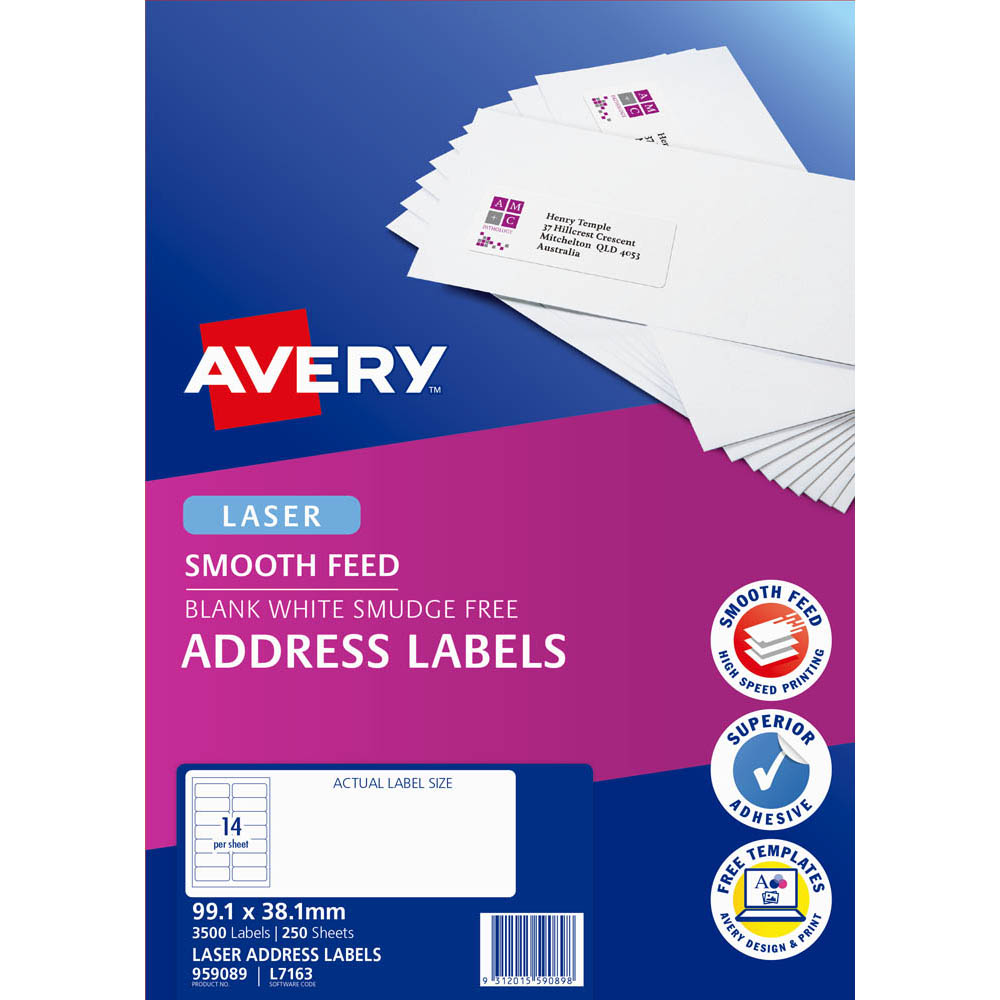 Image for AVERY 959089 L7163 ADDRESS LABEL SMOOTH FEED LASER 14UP WHITE PACK 250 from Wetherill Park / Smithfield Office National