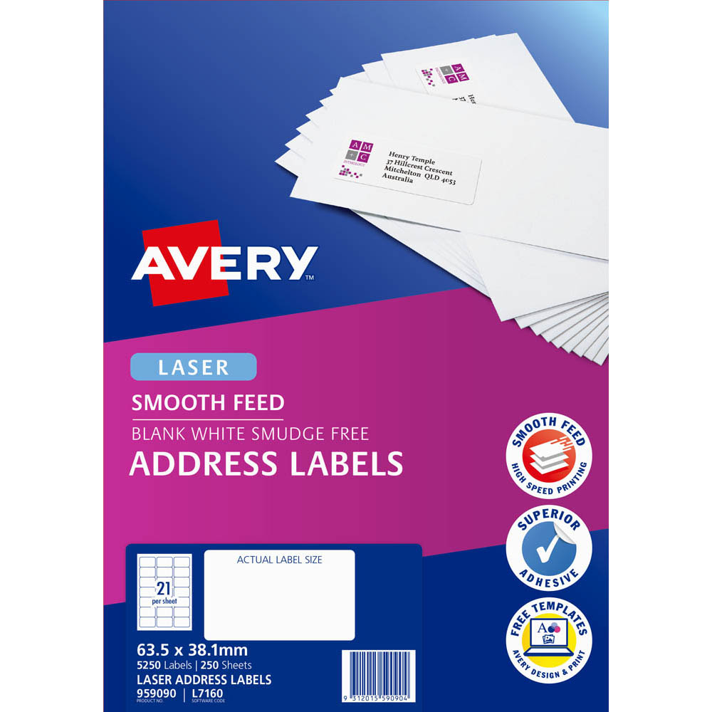Image for AVERY 959090 L7160 ADDRESS LABEL SMOOTH FEED LASER 21UP WHITE PACK 250 from Wetherill Park / Smithfield Office National