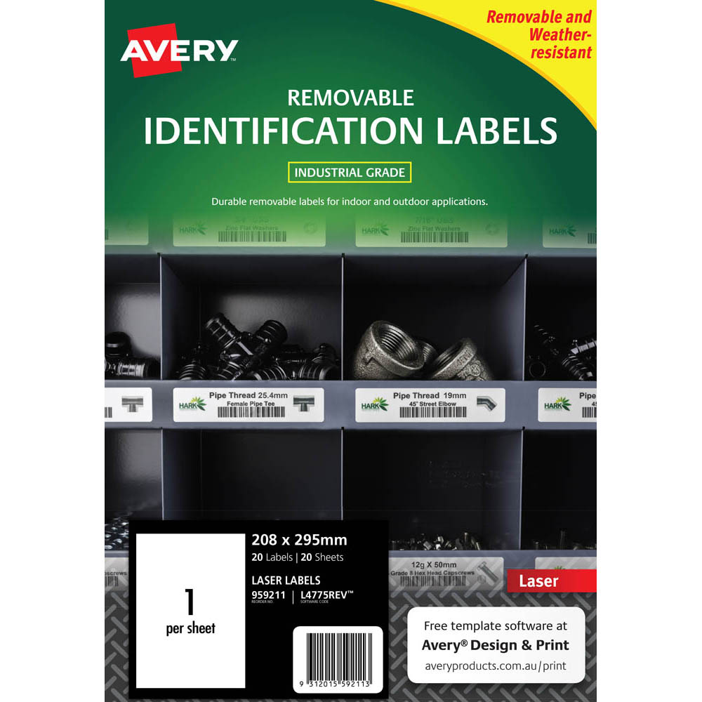 Image for AVERY 959211 REMOVABLE HEAVY-DUTY LABELS 210 X 297MM WHITE PACK 20 from Challenge Office Supplies
