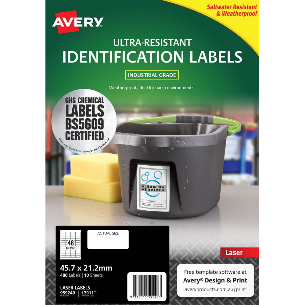 Image for AVERY 959240 ULTRA-RESISTANT OUTDOOR LABELS 45.7 X 21.2MM WHITE PACK 10 from Aztec Office National Melbourne