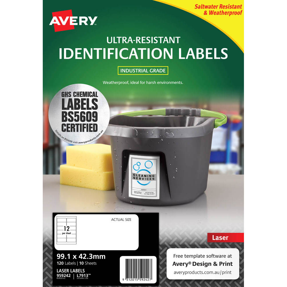Image for AVERY 959242 ULTRA-RESISTANT OUTDOOR LABELS 99.1 X 42.3MM WHITE PACK 10 from OFFICE NATIONAL CANNING VALE & OFFICE TOOLS OPD