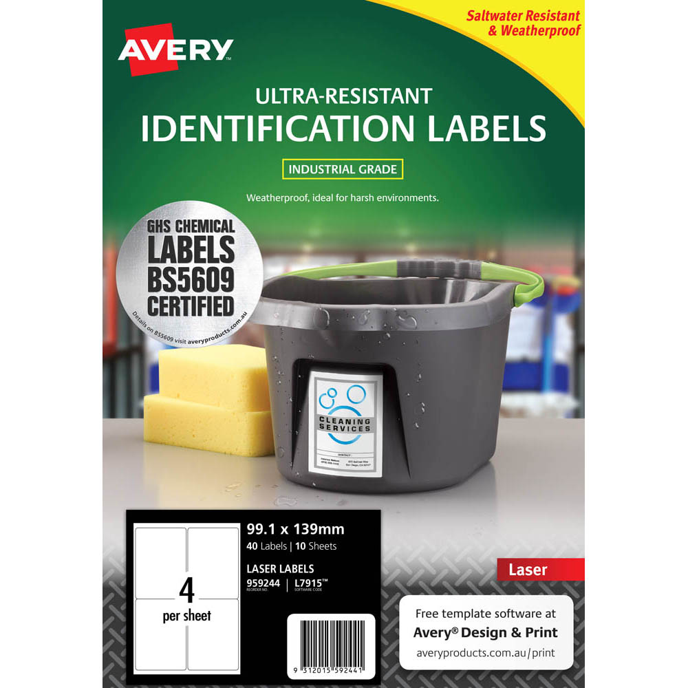 Image for AVERY 959244 ULTRA-RESISTANT OUTDOOR LABELS 99.1 X 139MM WHITE PACK 10 from OFFICE NATIONAL CANNING VALE & OFFICE TOOLS OPD