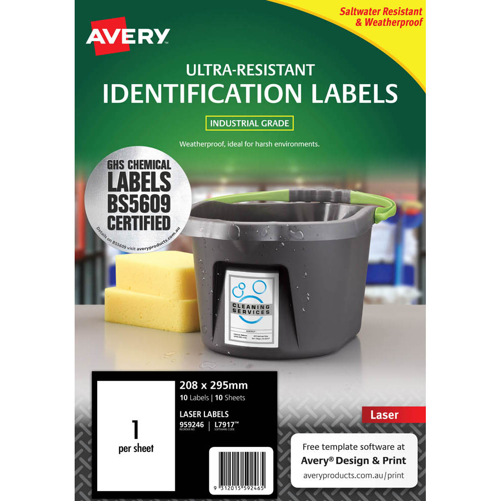Image for AVERY 959246 ULTRA-RESISTANT OUTDOOR LABELS 210 X 297MM WHITE PACK 10 from Aztec Office National Melbourne