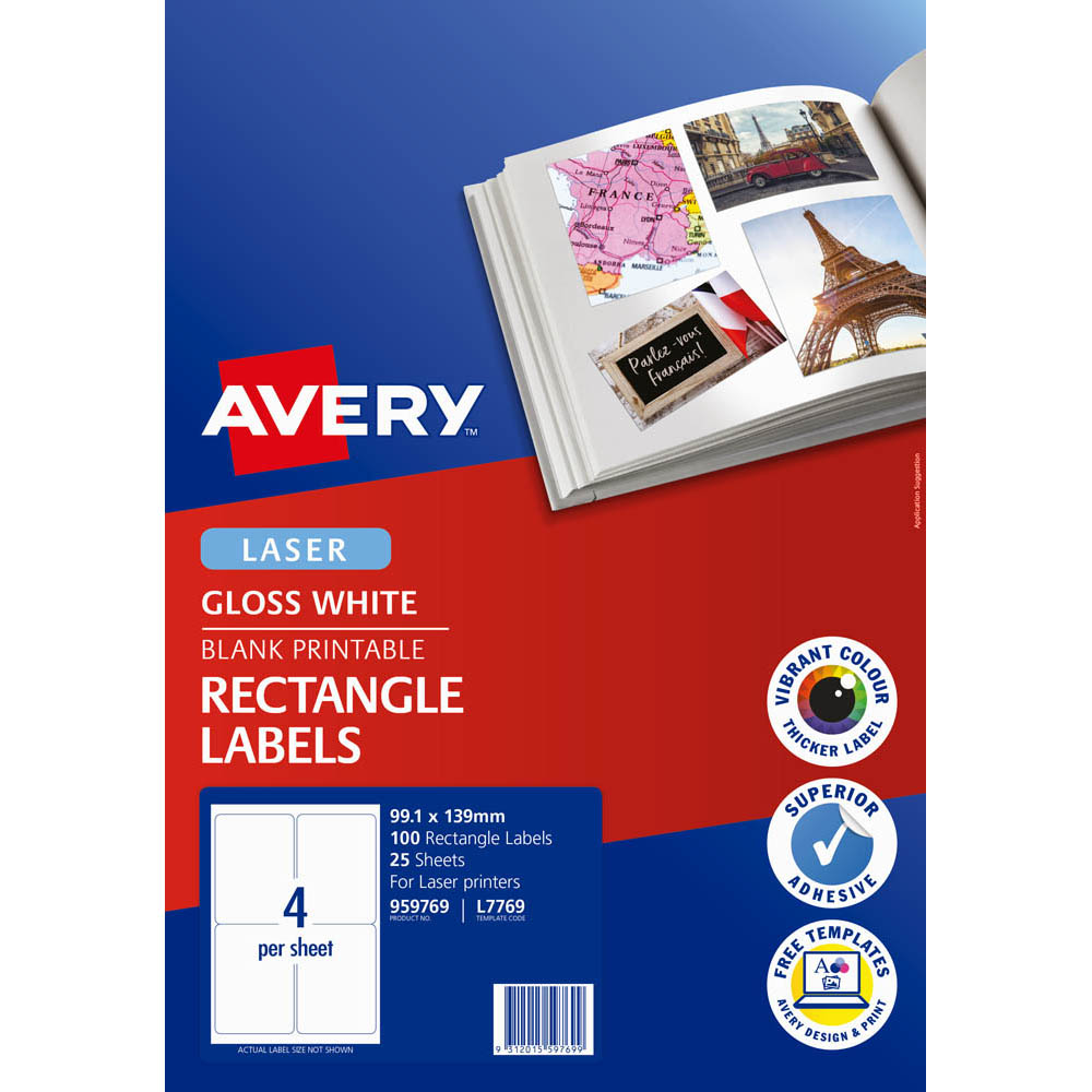 Image for AVERY 959769 L7769 PHOTO QUALITY MULTI-PURPOSE LABEL LASER 4UP GLOSS WHITE PACK 25 from Axsel Office National
