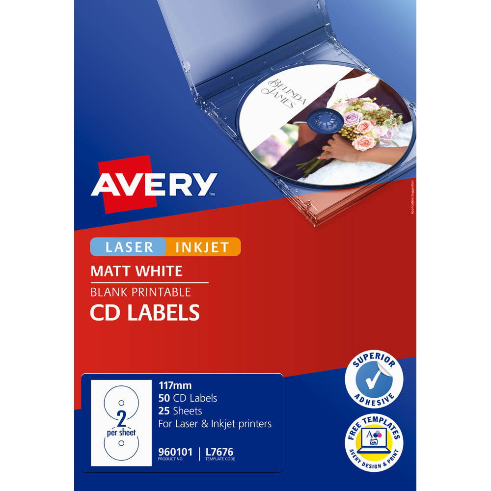 Image for AVERY 960101 L7676 LASER LABELS MEDIA FULL FACE CD/DVD 2UP PACK 25 from Ezi Office National Tweed