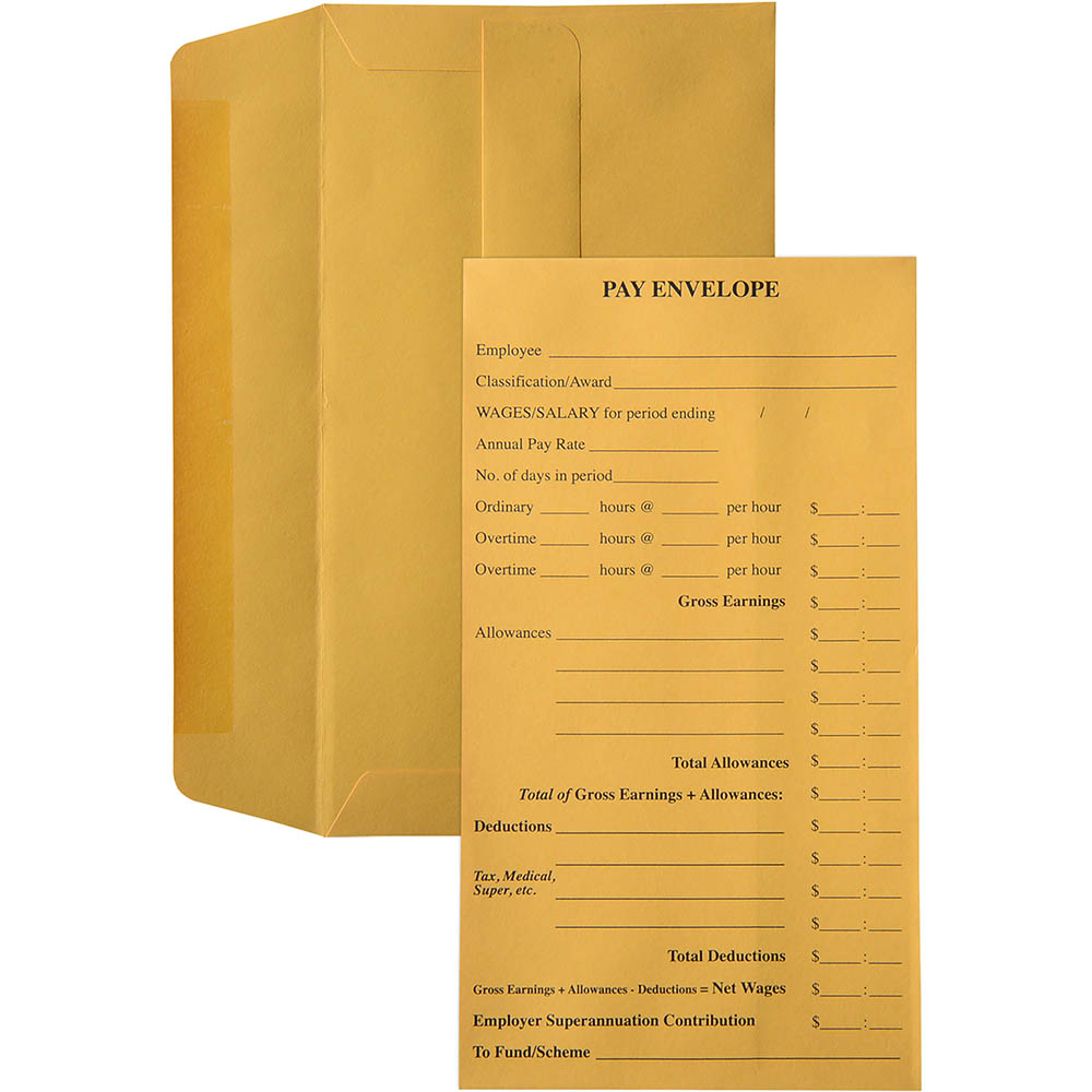 Image for CUMBERLAND ENVELOPES 12-3/4 POCKET PRE-PRINTED PAY SELF SEAL 85GSM 90 X 165 GOLD PACK 100 from Paul John Office National